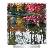 Glorious Fall Colors Reflection With Border Shower Curtain