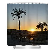 Glorious Sevillian Sunset With Palms Shower Curtain