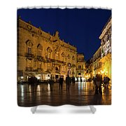 Glossy Outdoor Living Room - Passeggiata On Piazza Duomo In Syracuse Sicily Shower Curtain