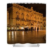 Glossy Outdoor Living Room - Syracuse Sicily Italy Shower Curtain