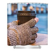Gloved Hands Holding Coffee Cup Shower Curtain