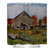 Glover Barn In Autumn Shower Curtain