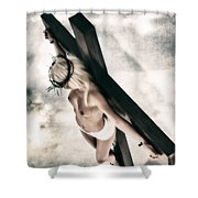 Glow Crucifix I Shower Curtain