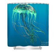 Glow Green Jellyfish Shower Curtain