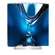 Glowing Blue Abstract Shower Curtain