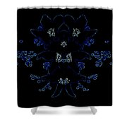 Glowing Blue Blossoms Shower Curtain
