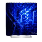 Glowing Blue Flowchart Shower Curtain