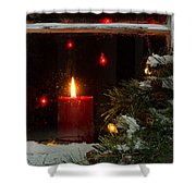 Glowing Christmas Candle In Frosted Home Window Shower Curtain