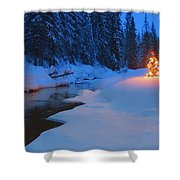 Glowing Christmas Tree By Mountain Shower Curtain by Carson Ganci
