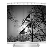 Glowing Flags Shower Curtain