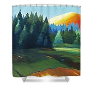 Glowing Hill Shower Curtain