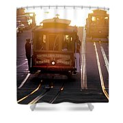 Glowing Magical Cable Cars On Nob Hill Shower Curtain