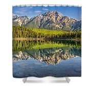 Glowing Morning At Pyramid Mountain Jasper Alberta Shower Curtain