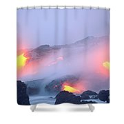 Glowing Orange Lava Shower Curtain