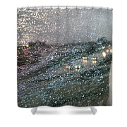 Glowing Raindrops In The City Shower Curtain
