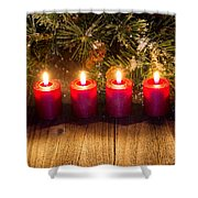 Glowing Red Candles With Snow Covered Evergreen Branch On Rustic Shower Curtain