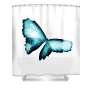 Glowing Soft Butterfly In Teal Blues Shower Curtain