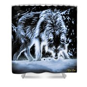 Glowing Wolf In The Gloom Shower Curtain