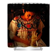 Glowing Woman Shower Curtain