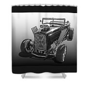 Go Hot Rod In Black And White Shower Curtain