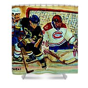 Goalie  And Hockey Art Shower Curtain by Carole Spandau