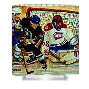 Goalie  And Hockey Art Shower Curtain