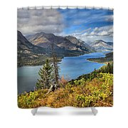 Goat Haunt Panorama Shower Curtain