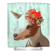 Goat With Flower Shower Curtain