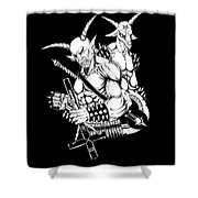 Goatlord And Baphomet Black Shower Curtain