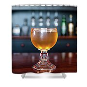 Goblet Of Refreshing Golden Beer On Shiny Dining Table Shower Curtain