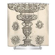 Goblet, Rim Decorated With Masque And Bouquet Of Fruit Shower Curtain
