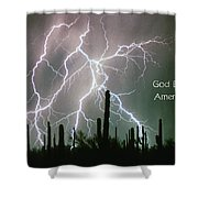 God Bless America Color Lightning Storm In The Usa Desert Shower Curtain