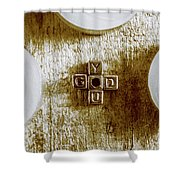 God Is You Metal Lettering Typography Near White Candles, Faith  Shower Curtain