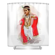 God Krishna Style Watercolor Shower Curtain