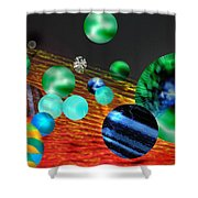 God Playing Marbles Tribute To Donovan Shower Curtain by Seth Weaver