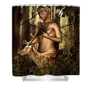Goddess Artemis Shower Curtain by Lourry Legarde