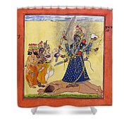 Goddess Bhadrakali Worshipped By The Gods. From A Tantric Devi Series Shower Curtain