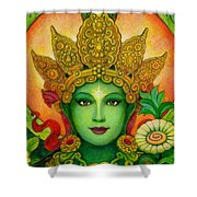 Goddess Green Tara's Face Shower Curtain