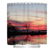 God's Hand On The Lake Shower Curtain