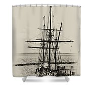 Godspeed At Port In Jamestown Shower Curtain