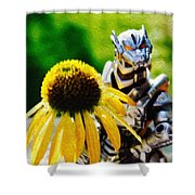 Godzilla With A Yellow Flower Shower Curtain