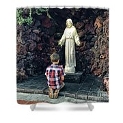 Going Before The Sacred Heart Of Jesus Shower Curtain