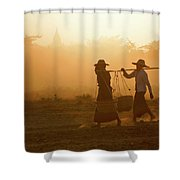 Going Home At Sunset Shower Curtain