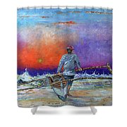 Going To Fish Shower Curtain