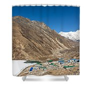 Gokyo Village And The Frozen Lake Shower Curtain