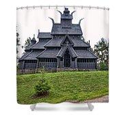 Gol Stave Church Shower Curtain