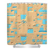 Gold And Aqua Mid-century Modern Shower Curtain
