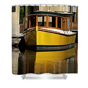 Gold Boat Reflects Shower Curtain