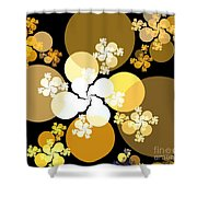 Gold Brown Spheres Shower Curtain