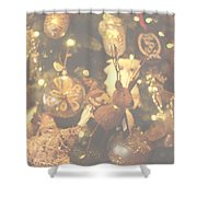 Gold Christmas Tree Decorations Shower Curtain